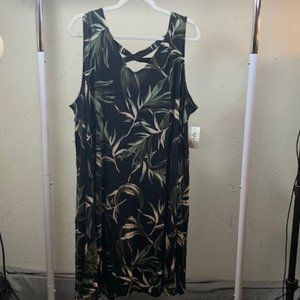 Style & Co Black/Green Sleeveless Dress 3X NWT